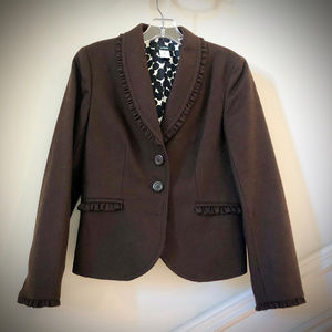 J. Crew Brown Felted Wool Blazer Sz6